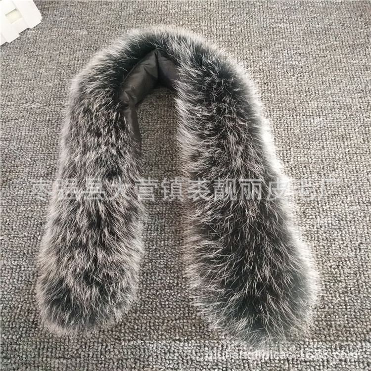 Really Fox Fur Collar Hats Stripe Cap Collar Wool Tops Down Jacket Hair Collar Natural Wool Cuff Article Fur Clothing For Both M
