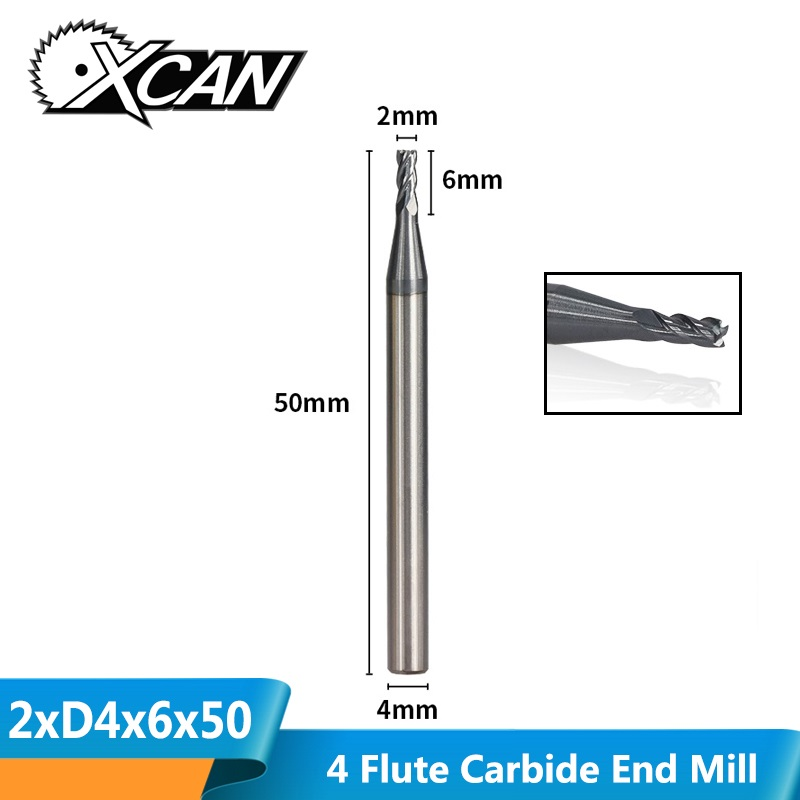 XCAN 1pc 2mm Tungsten Carbide Milling Cutter 4 Flute Straight Shank End Mills HRC50 CNC Router Bit