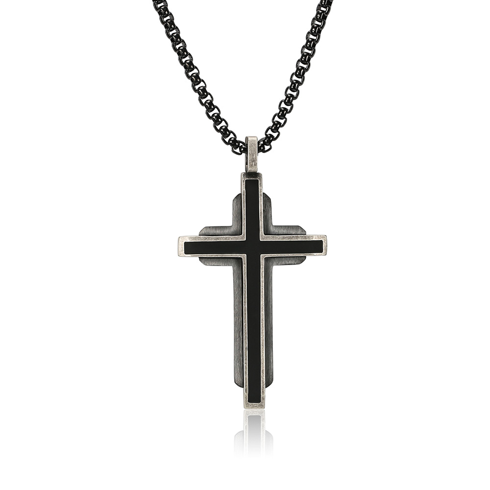 BOFEE Punk Cross Chain Vintage Long Necklace Penddant Stainless Steel Geometric Infinity Fashion Jewelry Gift For Women And Men