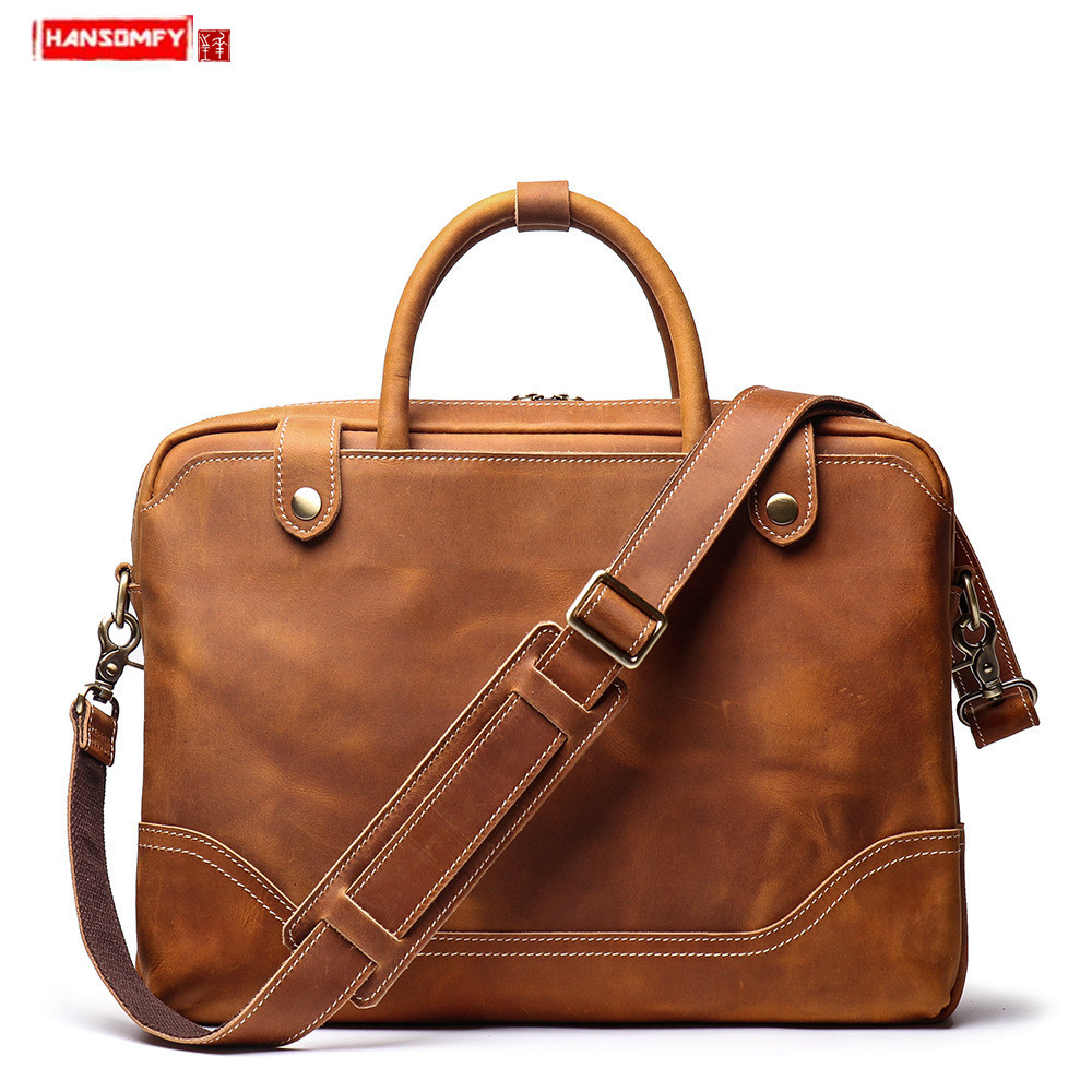 New Genuine Leather Men's Portable Briefcase Cowhide Men Handbag Shoulder Cross Bag Casual Retro 15.6-inch Computer Bag Leather