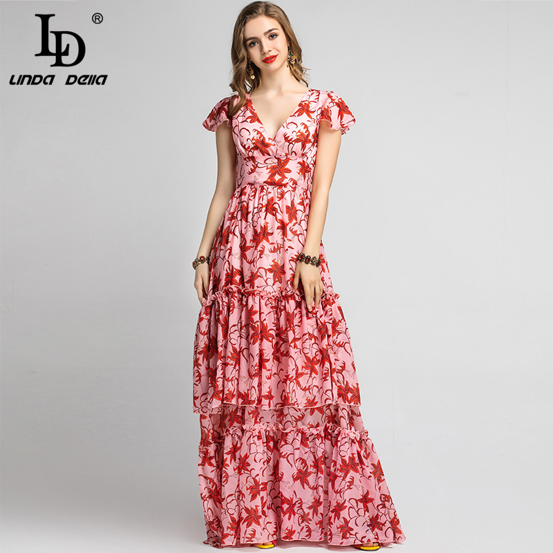 LD LINDA DELLA 2020 Summer Vacation Maxi Dress Women's V Neck Ruffles Vintage Flower Floral Print Holiday Party Long Dress Gown