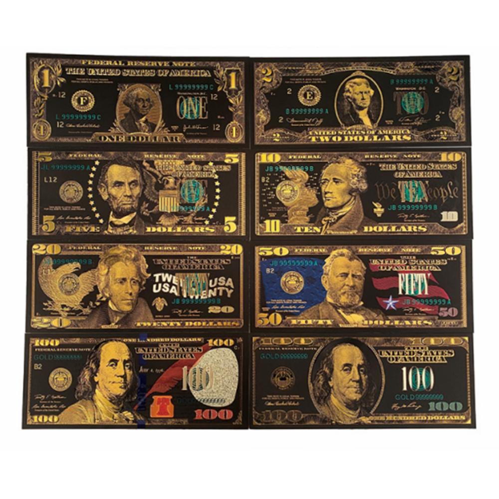 8 шт./компл. USD 1/2/5/10/20/50/100, цена в долларах, полный набор банкнот США набор долларовых банкнот цвета черный, зеленый, золотой