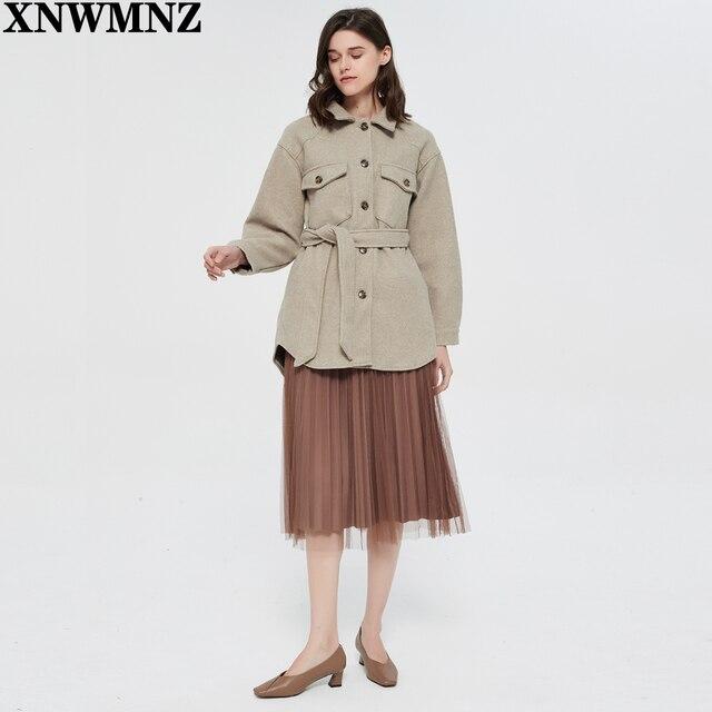 XNWMNZ Za Women 2020 Fashion With Belt Loose Woolen Jacket Coat Vintage Long Sleeve Side Pockets Female Outerwear Chic Overcoat 4
