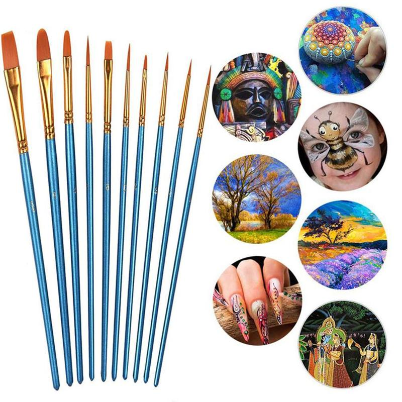 10 Pcs Artist Oil Watercolor Gouache Paint Brushes Hair Shape Art Brush Round Pointed Nylon Supplies Different Set Tip Pain J4U9
