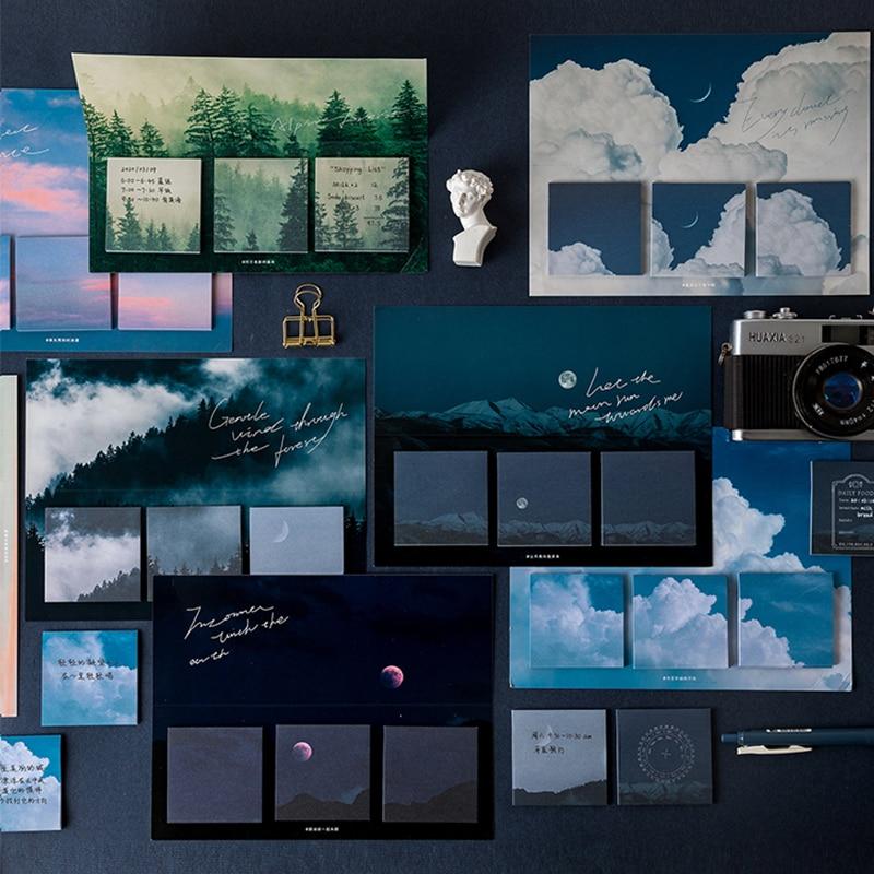 Śliczne kartki samoprzylepne seria Sun Moon Starry sky notatnik do zrobienia lista Kawaii stiky note artykuły szkolne arkusze Memo papiernicze