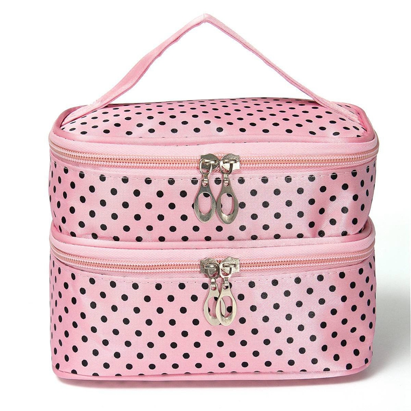ABZC-Womens Fashion Dot Pattern Double Layer Makeup Bag(Pink)