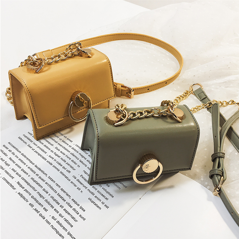 Retro Fashion Square Crossbody Bag 2019 New High Quality PU Leather Women's Designer Handbag Lock Chain Shoulder Messenger Bag