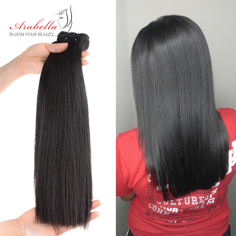 Super Double Drawn Virgin Hair Bundles Arabella Brazilian Straight Hair 100% Human Hair Bundles With 4x4 Transparent LaceClosure