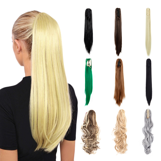 """22"""" Straight  Synthetic Claw Clip In Long Ponytail Extension Straight Hair for Women 170g with A Jaw/Claw Clip"""