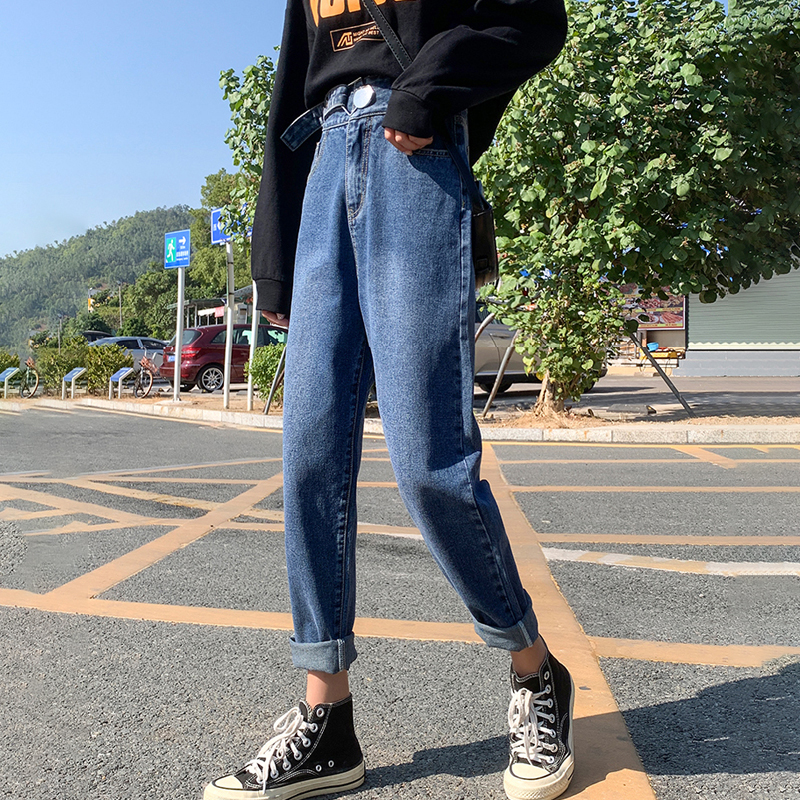 2020 Spring New Vintage High Waist Slouchy Mom Jeans For Women Boyfriend Denim Harem Pants Autumn Casual Ripped Trousers B01609F