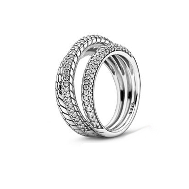 2020 Autumn Collection ring Triple Band Pave Snake Sparkling Crown Sparkling Snake Ring Marquise Double Wishbone ring for Women