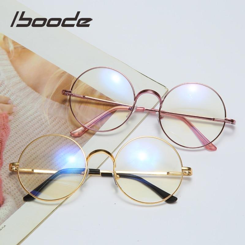 Iboode High Quality Ultalight Round Eye Glasses Frame Metal Anti Blue Ray Reading Computer Eyeglasses Women Men Clear Lens