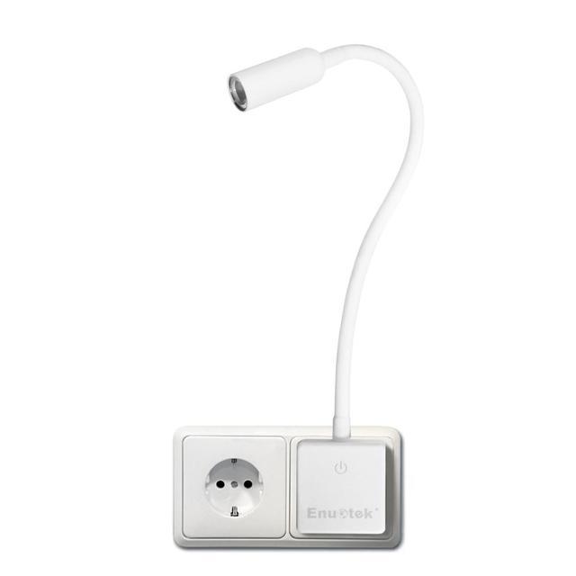 Luz LED de pared enchufable, lámpara de lectura con brazo oscilante regulable, para cabecera, 3W, 280Lm, iluminación blanca Natural, 5000K