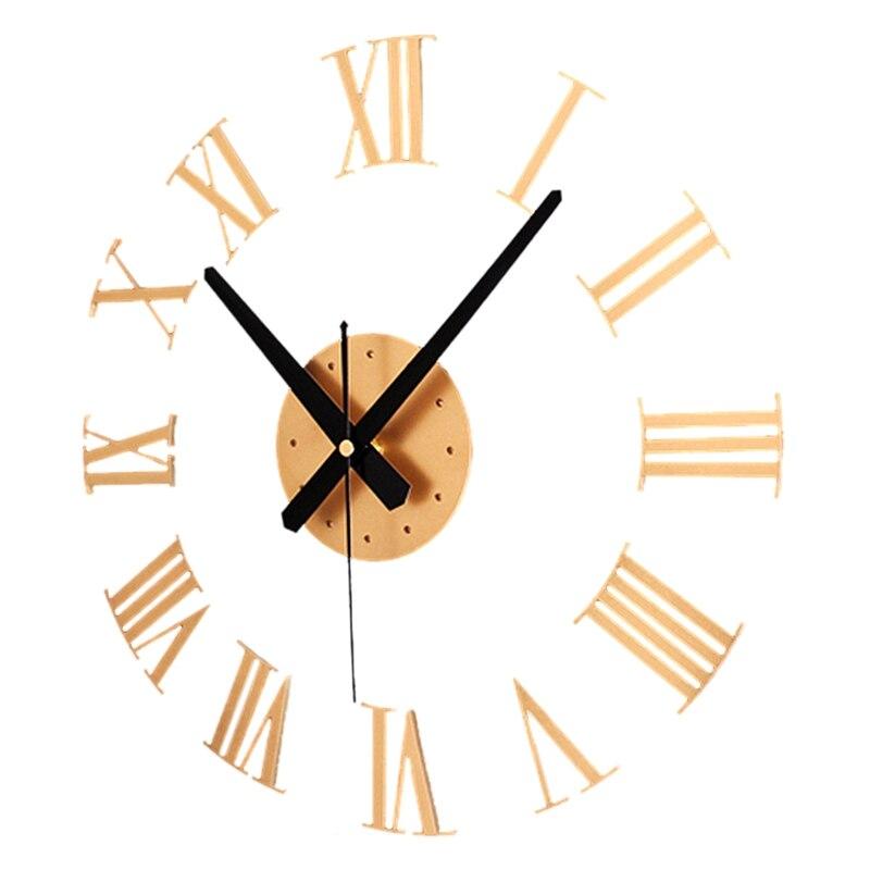 DIY Luxury 3D Roman Numerals Wall Clock Large Size Home Decoration Art Clock HOT