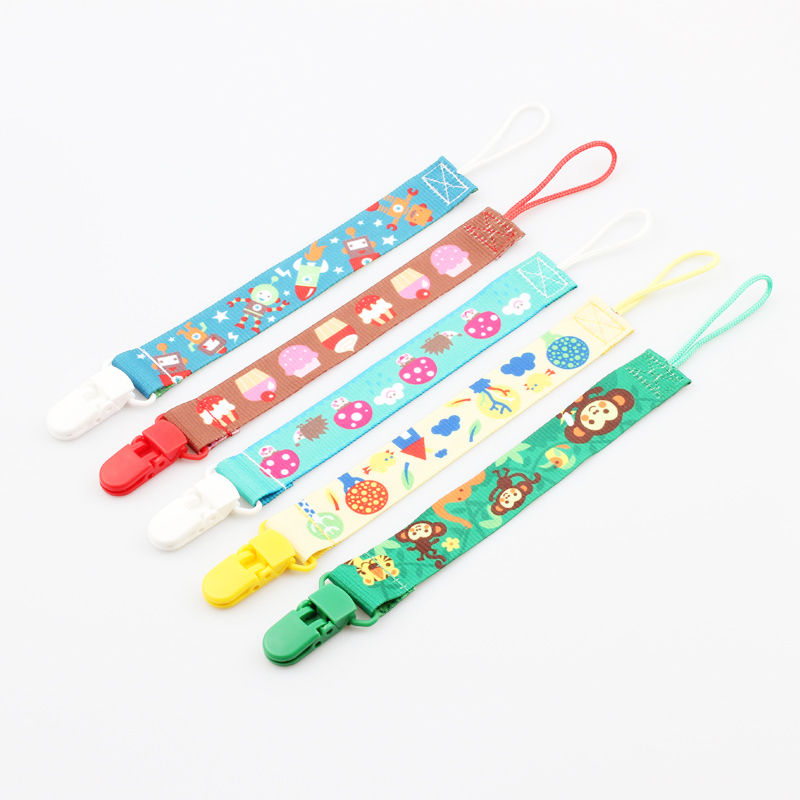 2PCS Baby Pacifier Chain Safe Plastic Clips Fabric Cartoon Prints Dummy Soother Nipple Holder Baby Teether Clips