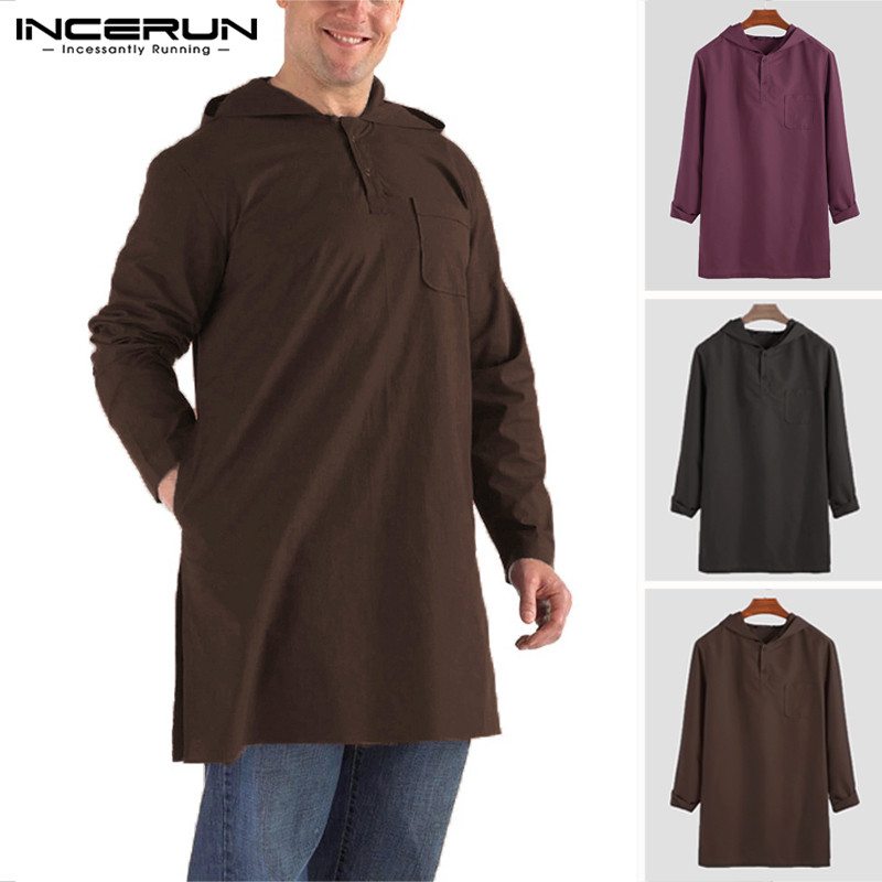 INCERUN Men's Moslem T-Shirts Long Sleeve Button Retro Hooded Solid Color Tops Saudi Arabia Dubai Islamic Longline T Shirts Men
