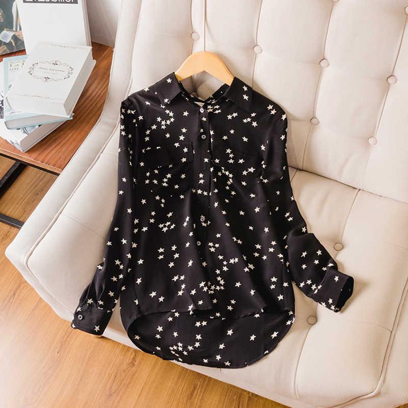 Suyadream女性のシルクブラウス100% リアルシルククレーププリントスター長袖胸ポケット黒シックなブラウスシャツ