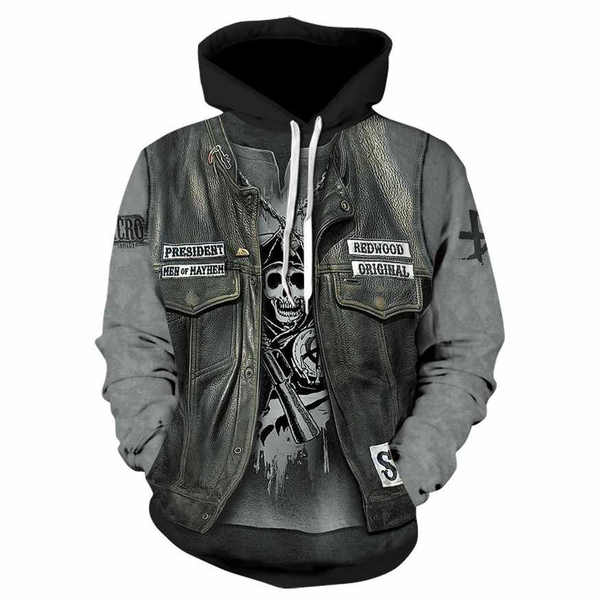 ขายใหม่ 3D Art Skull Hoodies ผู้ชายผู้หญิง 2018 ใหม่แฟชั่นฤดูใบไม้ร่วงฤดูหนาวชุดลำลองกีฬา Hooded Sweatshirt เสื้อ 6XL