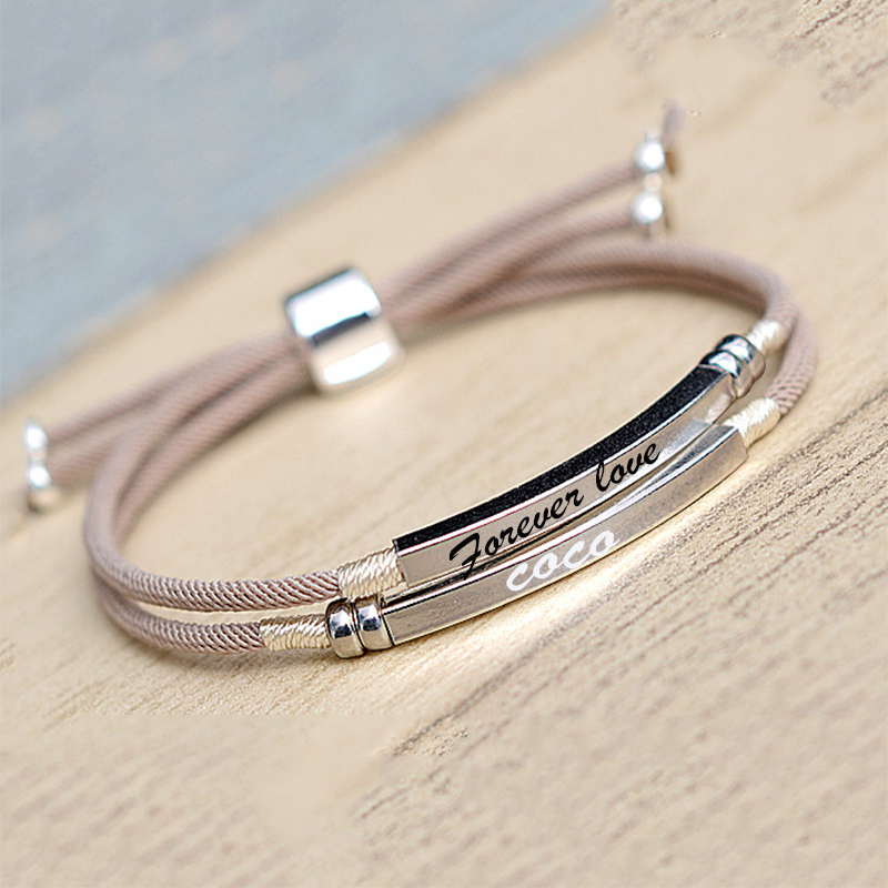 925 Sterling Silver Custom Bar Bracelet Engraved Name Date Letter Two Layers Handmade Pink Rope Personalized Woman Jewelry-in Charm Bracelets from Jewelry & Accessories