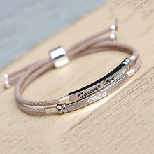 925 Sterling Silver Custom Bar Bracelet Engraved Name Date Letter Two Layers Handmade Pink Rope Personalized Woman Jewelry