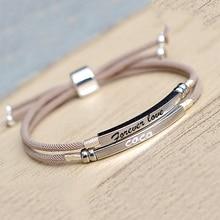 925 srebro niestandardowe bransoletka pasek grawerowane nazwa data list dwie warstwy ręcznie różowy sznureczek spersonalizowane kobieta biżuteria