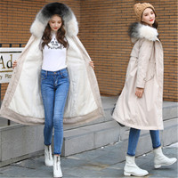 Plus size 6XL Parkas jacket 2019 winter women long high end lamb hair hooded fur collar cotton Coats thicke warm cotton padded