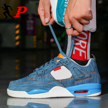 PULOMIES Denim Men Casual Shoes Couple Baskteball Sneakers Sport Walking Air Cushion Platform