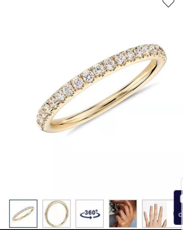Articles personnalisés classique Moissanite bande or jaune couleur bijoux bague de mariage bague de fiançailles 585