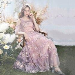 Женское Сетчатое платье с вышивкой ARTKA, элегантное вечернее платье в стиле ретро с открытыми плечами, LA20704X, лето 2020