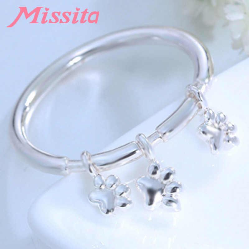 MISSITA 100% de 2019 nueva moda lindo cachorro pata huella anillos para las mujeres de marca de joyería anillo de cristal, regalo de aniversario