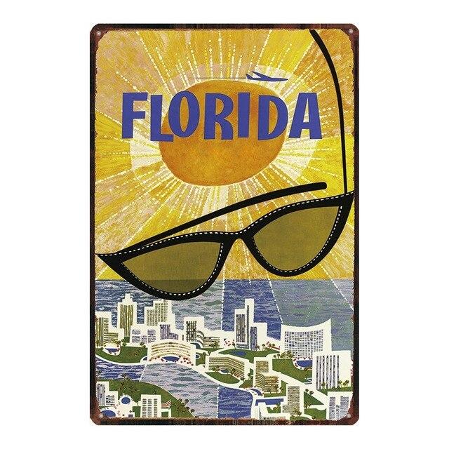 Фото флорида пляжные доска металл винтаж путешествия жестяная вывеска