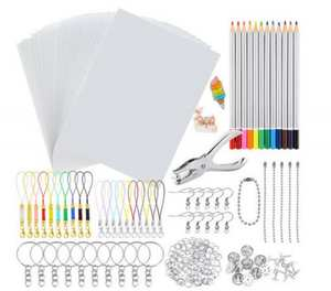 Supply Keychains-Pencils Plastic-Kit Shrink-Dinks Creative Paper-Hole-Punch Drawing-Art