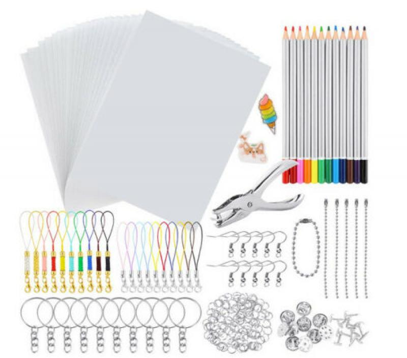 198PCS Shrink Dinks Plastic Kit Shrinky Art Paper Hole Punch Keychains Pencils Drawing Art Supply Creative