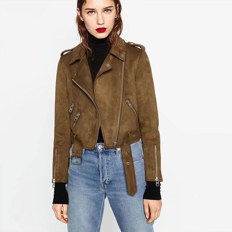 2019 New Autumn Faux   Suede   Womens Motorcycle Trend Jacket Faux   Leather   Jacket Women Biker Jacket Slim Long Sleeve PU Coat