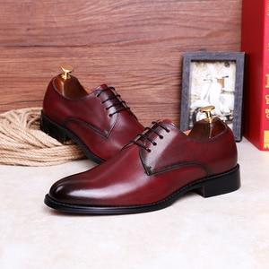 Image 4 - Desai couro genuíno vermelho sapatos masculinos sapatos de negócios para homem marca calçados masculinos sapatos casuais clássico 2019