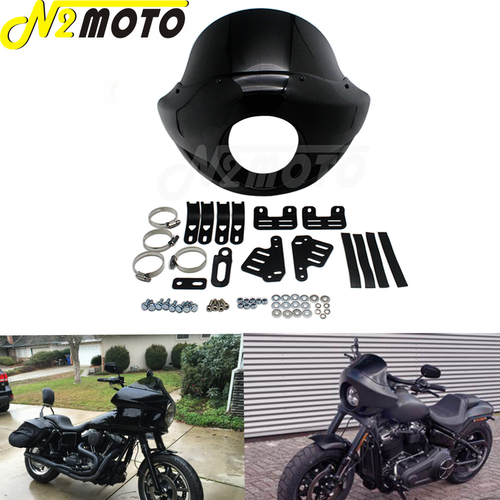 For Harley Touring Sportster Dyna XL 883 XL 1200 Motorcycle Black Headlight Fairing 35-49mm w/ Head Light Mask Front Cowl Mount