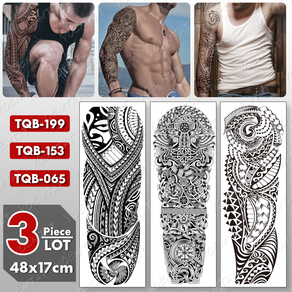 3 Pcs/lot Large Arm Sleeve Tattoo Maori Totem Waterproof Temporary Tatto Sticker Body Art Full Fake Tatoo Women Men
