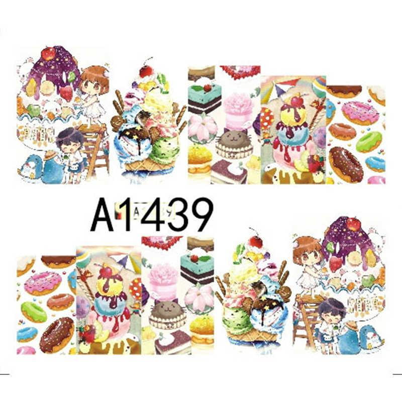 Gambelle 1 Lembar Kue Lezat Minuman Dingin Es Krim Slider Kuku Seni Air Decal Stiker untuk Kuku Seni Tato Dekorasi manikur