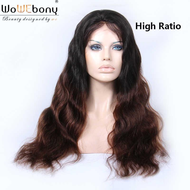 WoWEbony Синтетические волосы на кружеве парики из натуральных волос на кружевной 1b 4 объемная волна 13x6 Синтетические волосы на кружеве парик 150 плотность бразильский эффектом деграде (переход от темного к парик человеческих волос Remy для Для женщин