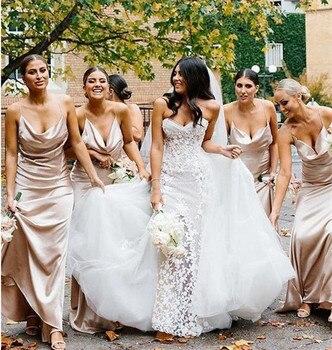 Elegant Champagne Bridesmaid Dress Spaghetti Strap Guest Wedding Party Dress Sheath Bridesmaid Dress Wedding vestido dama honor фото
