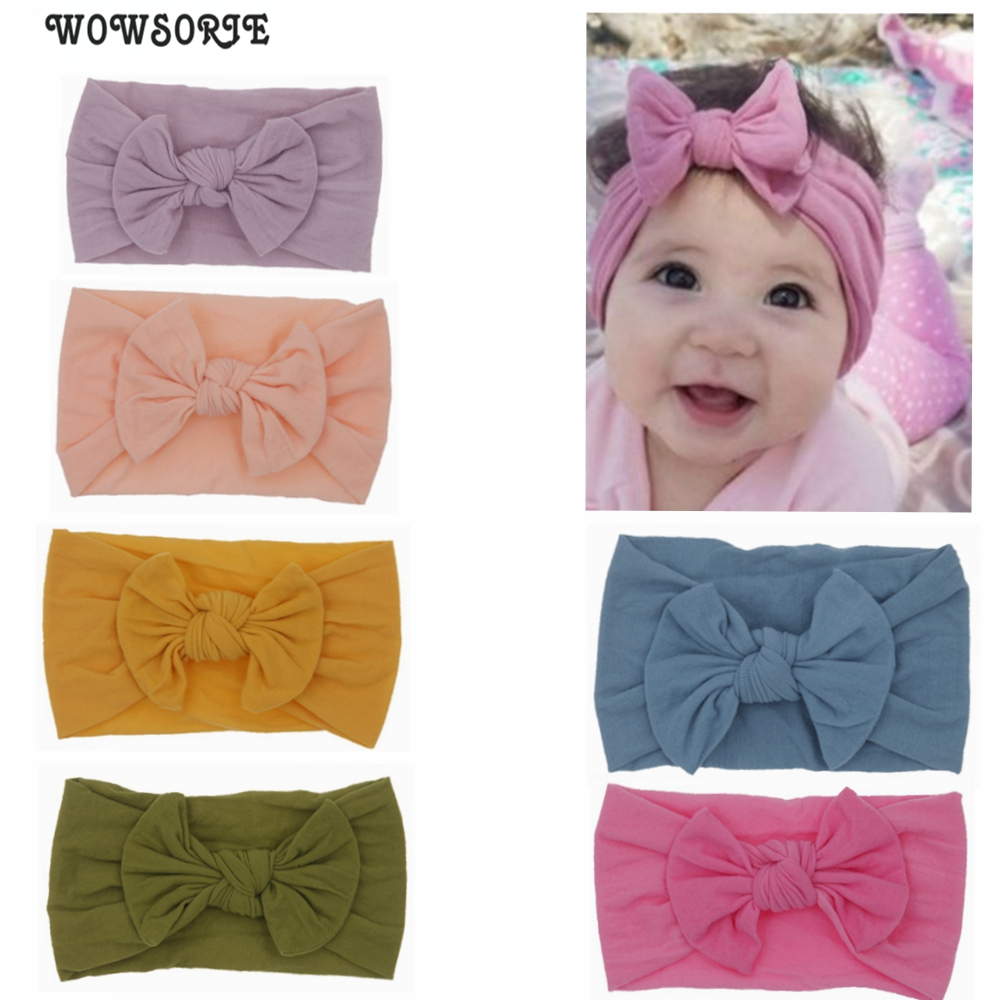 Baby Headband For Girls Kids Soft Elastic Knot Turban Nylon Headbands Head Wrap Newborn Bow Hairband Toddler Hair Accessories