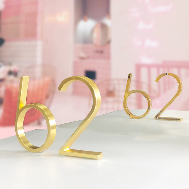 127mm Floating Modern House Number Satin Brass Door Home Address Numbers for House Digital Outdoor Sign Plates 5 Inch. #0-9