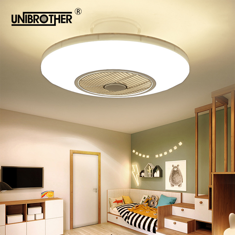50cm Led Ceiling Fan With Light Remotre Control 110v 220v Bedroom Lamps Children Room Home Restaurant 40w Three Color Changing
