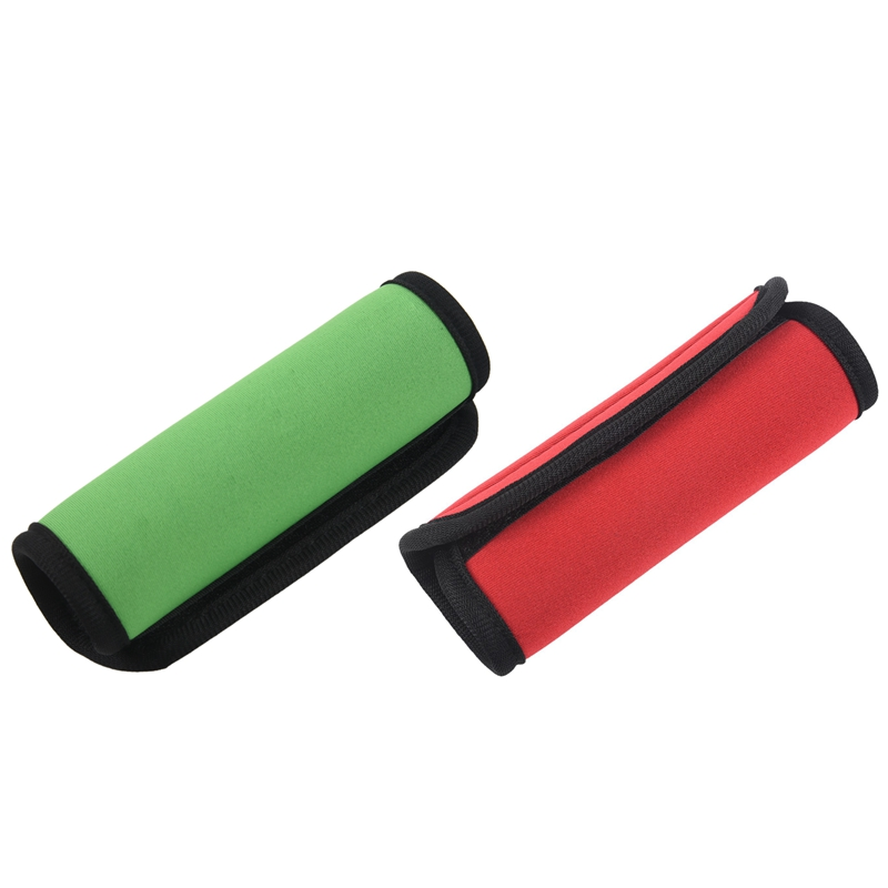 2Pcs Travelling Luggage Suitcase Handle Comfort Wraps Identifier Tags Green & Red