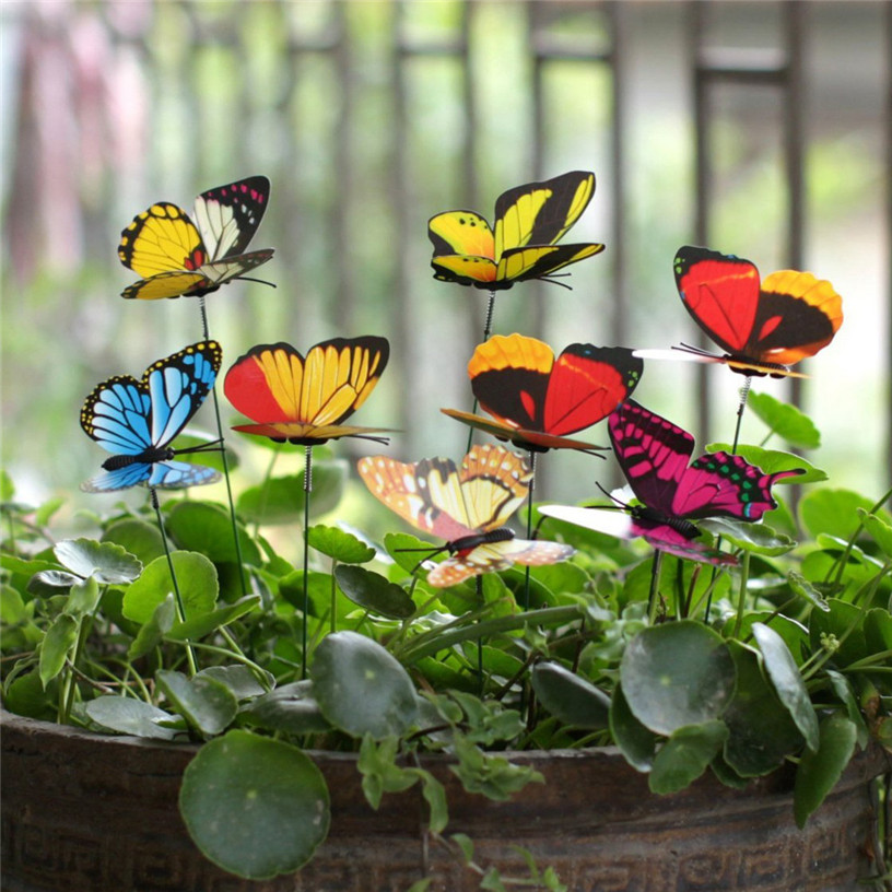 Bunch of Butterflies Garden Yard Planter Colorful Whimsical Butterfly Stakes Decoracion Outdoor Decor Flower Pots Decoration 2