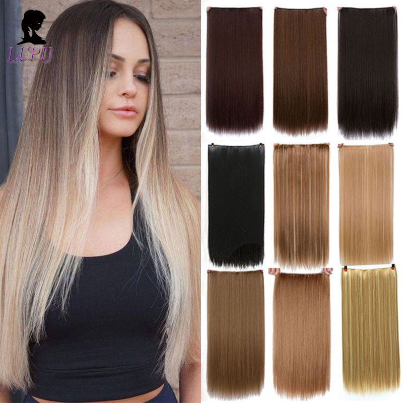 LUPU 5 Clips In Hair Extension Long Straight Natural Hair Synthetic Blonde Black High Temperture Fiber Fake Hairpieces Headwear