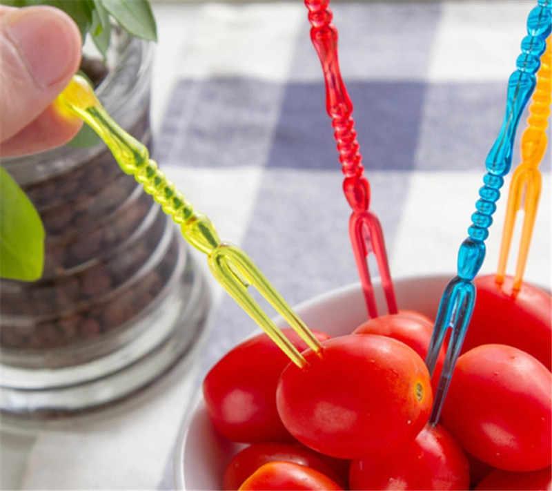 20 ชิ้น/แพ็ค MINI ใสพลาสติกผลไม้อาหาร Forks ชุดสำหรับปาร์ตี้อุปกรณ์ครัว