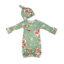 Focusnorm/одежда для сна для новорожденных девочек от 0 до 6 месяцев, комплект из 2 предметов длинная пеленка с рукавами и цветочным принтом спальный мешок+ шапочка