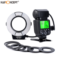 K&F Concept Ring Flash Light E TTL Macro Flash Ring with 52 55 58 62 67 77mm Adapter for Canon Nikon DSLR Camera