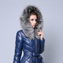 100% hakiki gümüş tilki kürk yaka eşarp 80CM kadın kış modası kalın gri Hood Trim gerçek kürk yaka erkekler çiftin tilki atkılar